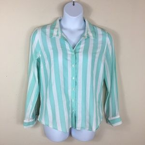Crown & Ivy Striped Button Front Shirt Size Large